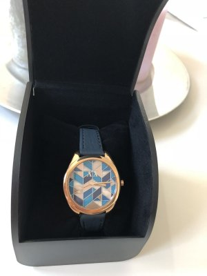 Armani Exchange Watch With Leather Strap dark blue-rose-gold-coloured