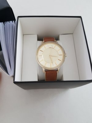 Armani Exchange Watch With Leather Strap gold-colored-brown