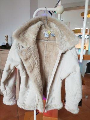 ARMANI Exchange Kunstfell Jacke Gr 34 / XS Wollweiß Sehr guter Zustand