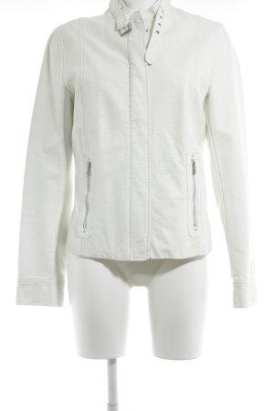 Armani Exchange Giacca in ecopelle bianco-grigio chiaro motivo a pallini