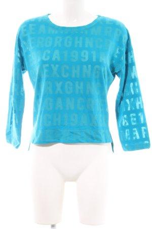 Armani Exchange Top à manches longues bleu lettrage imprimé
