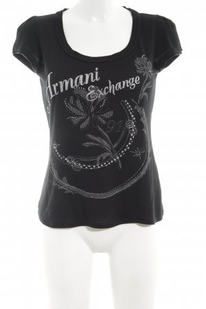 Armani Exchange Print Shirt black-silver-colored themed print casual look