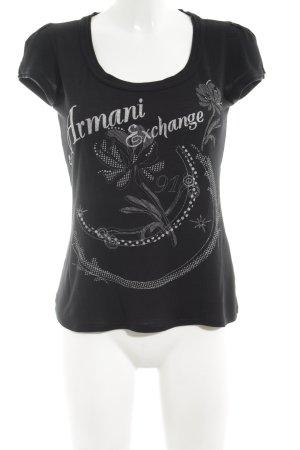 Armani Exchange T-shirt imprimé noir-argenté imprimé avec thème