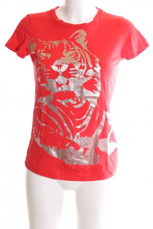 Armani Exchange T-shirt rouge-gris clair motif abstrait style décontracté