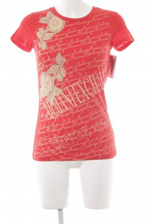 Armani Exchange T-Shirt cream-red printed lettering casual look
