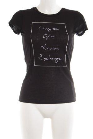 Armani Exchange T-shirt noir lettrage imprimé style décontracté