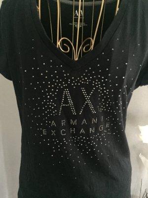 Armani Exchange V-hals shirt zwart-zilver