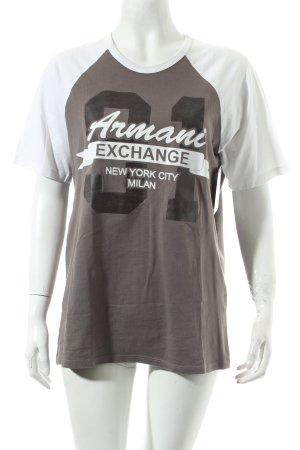 Armani Exchange T-Shirt grau-weiß Schriftzug gedruckt sportlicher Stil