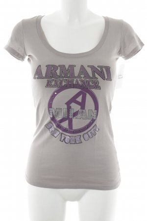 Armani Exchange T-Shirt hellgrau-lila Motivdruck Casual-Look