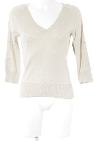 Armani Exchange Jersey con cuello de pico beige claro-blanco puro look casual