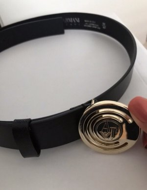Armani Jeans Leather Belt black-gold-colored leather