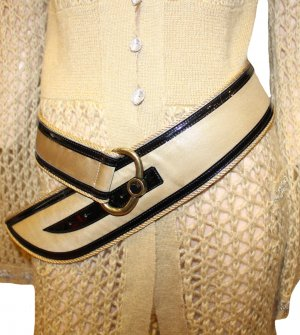 Emporio Armani Hip Belt black-gold-colored leather