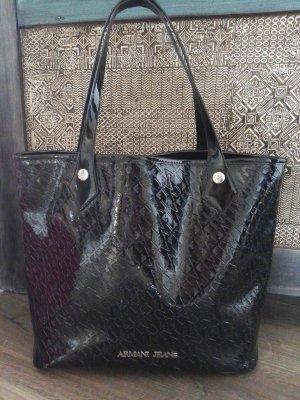 Armani Handtasche Tasche schwarz Logo Druck