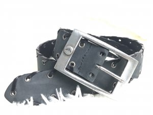 Armani Jeans Leather Belt black-dark grey