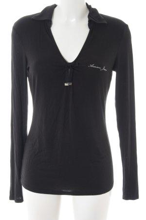 Armani Jeans Basic Top schwarz Schriftzug gedruckt Street-Fashion-Look