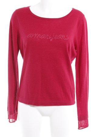 Armani Jeans Feinstrickpullunder magenta-rosa Schriftzug gestickt Casual-Look