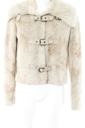 Armani Jeans Felljacke beige-hellbeige Batikmuster Kuschel-Optik
