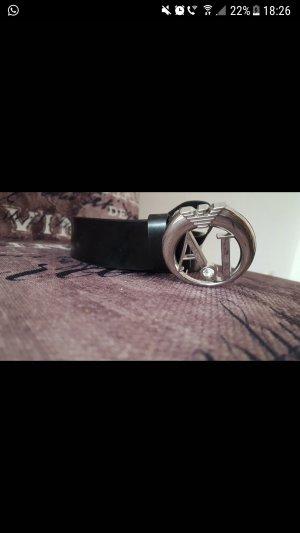 Armani Jeans Cinturón de cadera negro-color plata