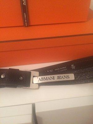 Armani Jeans Ceinture en cuir marron clair-argenté