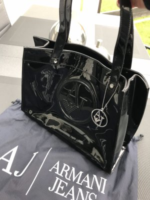 Armani Jeans Handtasche schwarz lack