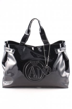 Armani Jeans Handtasche schwarz Lack-Optik