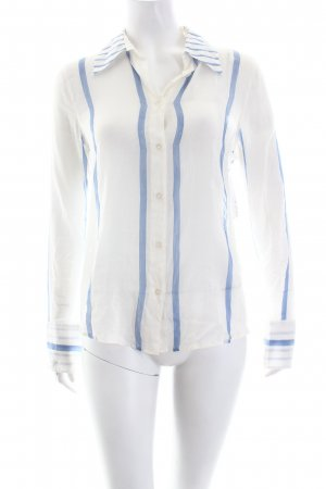Armani Jeans Hemd-Bluse weiß-kornblumenblau Streifenmuster Eleganz-Look
