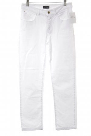 Armani Jeans High Waist Jeans weiß Schriftzug gestickt Casual-Look