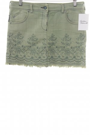 Armani Jeans Denim Skirt pale green-lime-green floral pattern Boho look
