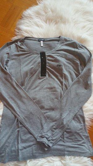 Armani Jeans Langarmshirt mit schwarzen Pailettenapplikationen