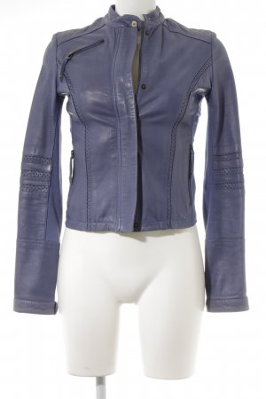 Armani Jeans Leather Jacket blue violet casual look