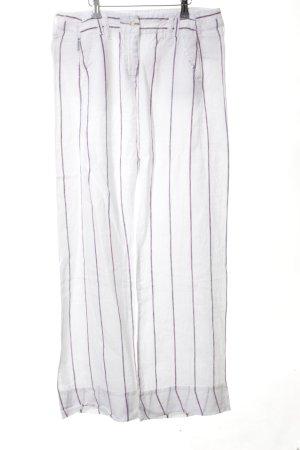 Armani Jeans Leinenhose weiß-lila Streifenmuster Casual-Look