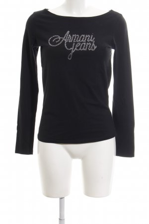 Armani Jeans Longsleeve black-silver-colored printed lettering casual look