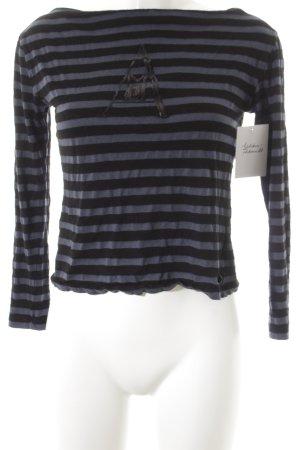Armani Jeans Longsleeve schwarz-blau Streifenmuster Casual-Look
