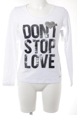 Armani Jeans Top à manches longues blanc-gris anthracite lettrage brodé