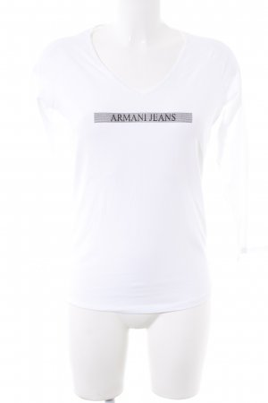 Armani Jeans Longsleeve natural white-black printed lettering casual look