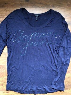 Armani Jeans Oberteil blau Pailletten