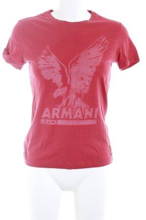 Armani Jeans Print-Shirt rot-wollweiß Motivdruck Casual-Look