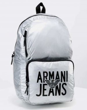 Armani Jeans Backpack black-silver-colored polyamide