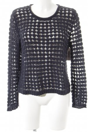 Armani Jeans Rundhalspullover dunkelblau Lochstrickmuster Casual-Look