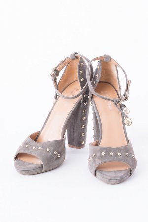 Armani Jeans High-Heeled Sandals grey-silver-colored leather