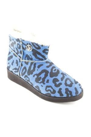 Armani Jeans Slip-on laarzen neon blauw-zwart luipaardprint