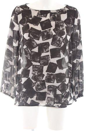 Armani Jeans Schlupf-Bluse wollweiß-schwarz Allover-Druck Casual-Look