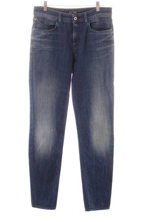 Armani Jeans Slim Jeans blau-wollweiß Washed-Optik