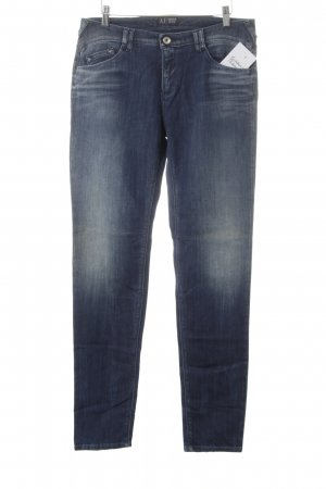 Armani Jeans Slim Jeans dunkelblau-wollweiß Washed-Optik