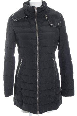 Armani Jeans Gewatteerde jas zwart-zilver quilten patroon klassieke stijl