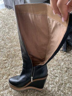 Armani Jeans Botte à plateforme noir-marron clair cuir