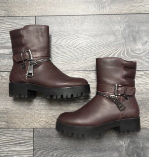 Armani Jeans Bottines à fermeture éclair bordeau