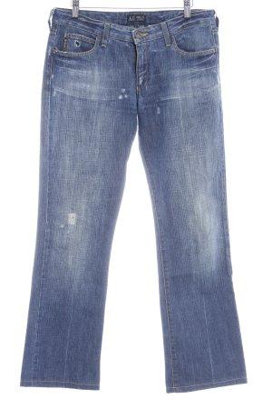 Armani Jeans Straight-Leg Jeans blau Bleached-Optik