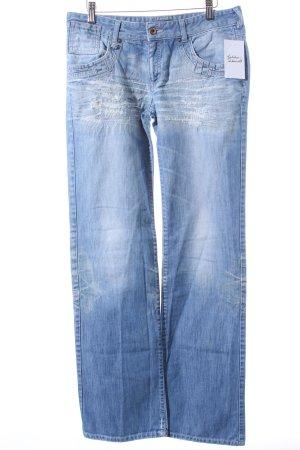Armani Jeans Straight-Leg Jeans hellblau-wollweiß Destroy-Optik