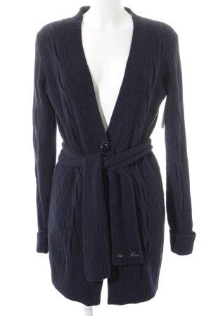 Armani Jeans Veste en tricot bleu foncé torsades
